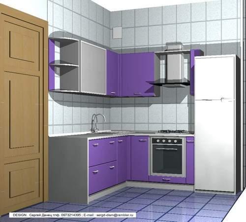 Дизайн кухонного гарнитура для кухни с колонкой